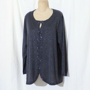 Maggie Barnes Shimmery Sweater Cardigan Size 1X